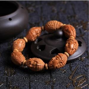 天然高油性橄榄核雕刻魔由心生手串 文玩把玩 橄榄胡一念之间手串拍卖