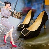 细跟高跟鞋单鞋中跟5cm方扣尖头小码绒面时尚女士百搭小清新工作