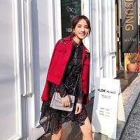 卡贝琳女秋装女2018新款红色牛仔外套女春秋季刺绣chic港味上衣长袖学生潮