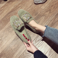 单鞋女2018秋冬新款时尚兔毛水钻方扣单鞋棉里暖和舒适百搭休闲鞋