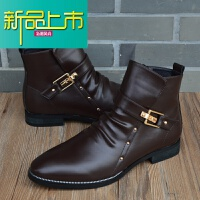 新品上市马丁靴男韩版尖头皮靴英伦风高帮皮鞋内增高男鞋短靴沙漠靴男