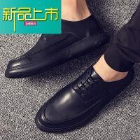 新品上市潮牌冬季加绒男鞋软底休闲鞋子韩版男士英伦商务正装小皮鞋男