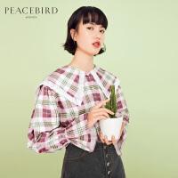 太平鸟格子衬衫女2019春新款复古港味气质少女上衣设计感小众衬衣