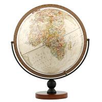 30CM中英文政区复古立体地球仪大号 720万向木质底座地球仪摆件 仿古书房办公室家居装饰 MQ3013尼莱科BM10