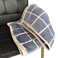 毛毯双层盖毯小被子加厚冬季单人法兰绒办公室午睡空调毯珊瑚绒毯y 灰色 格子双层