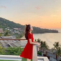 卡贝琳女v领雪纺连衣裙女2019新款夏气质红色裙子收腰显瘦流行小红裙度假女