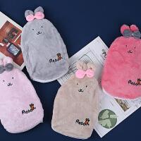 暖水袋 冬季新款可爱卡通暖手宝大号兔子注水热水袋毛绒厚实耐用便携式暖水袋暖手袋