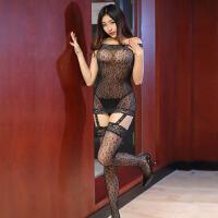 女式透明连身袜性感诱惑黑吊带丝袜制服套装 情趣内衣女骚 开档油光丝袜