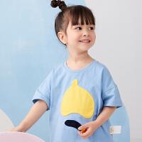 【秒杀价:108元】马拉丁童装女小童T恤2020春夏新款水果图案贴布设计落肩短袖