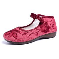 老北京布鞋女大码女鞋春季奶奶鞋平底汉服古风绣花鞋新款软底单