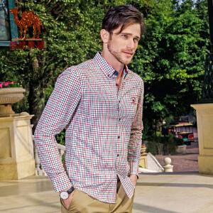 骆驼男装 春季新款无弹尖领扣领格子长袖衬衫 棉质休闲衬衣男