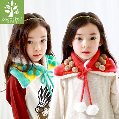 KK树儿童围巾秋冬季小孩宝宝围脖潮版保暖加绒男女童围巾 韩版时尚 加绒保暖