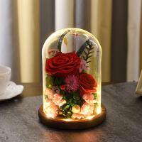 进口永生花礼盒玻璃罩玫瑰花摆件情人节礼物生日礼品送女朋友