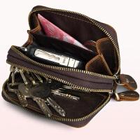 钥匙包真皮男大容量双拉链汽车匙包头层疯牛皮复古多功能零钱卡包 深棕色