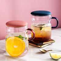 玻璃花茶杯子女办公室家用耐热大容量透明带盖带把喝水泡茶