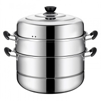 不锈钢蒸锅30CM二层三层四层 加厚蒸笼蒸格汤锅双层煤气电磁炉蒸锅具 可选
