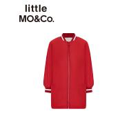 littlemoco秋季新品女童外套双面穿仿羊羔毛女童风衣长款2019新款