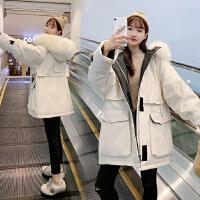 安妮纯羽绒棉服女中长款2019冬季新款韩版宽松时尚大毛领加厚棉衣派克服