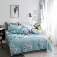 简约纯棉四件套小清新花卉全棉被套1.8床品学生宿舍三件套床单