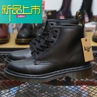 新品上市香港购.m马丁靴6孔男靴英伦系带真皮靴子厚底短女靴