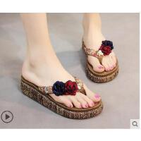 凉拖鞋坡跟厚底新款人字拖外穿拖鞋女士沙滩凉拖鞋防滑夹脚