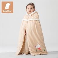 秋冬款外出宝宝保暖披肩披风棉连帽婴儿斗篷厚棉