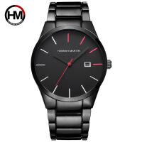 男士钢带手表真空电镀商务休闲多功能日历石英手表 金