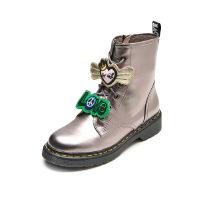爱旅儿女鞋冬两穿可拆卸金属爱心低跟马丁靴EA68229