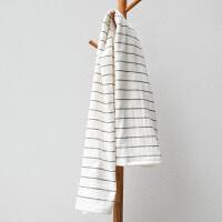 日系浴巾男女情侣个性纱布吸水速干柔软全棉儿童婴儿定制 白色 白条纹(送毛巾) 140x70cm