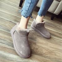 雪地靴女短靴2018冬季新款时尚圆头厚底磨砂牛皮羊毛口舒适保暖