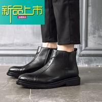 新品上市马丁靴男真皮短靴春季新款厚底潮靴男韩版百搭皮靴英伦男靴