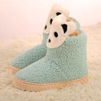 拖鞋女冬包跟可爱毛线鞋韩版黑色棉拖鞋保暖卡通高跟厚底家居棉鞋