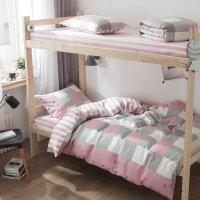 床单三件套学生宿舍单人0.9m 棉寝室被套儿童1.2米床上用品女生k 高密棉 堇