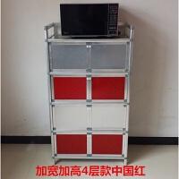 简易不锈钢拉丝橱柜 厨柜三层组装柜不生锈铝合金柜橱柜厨房收纳柜 双门