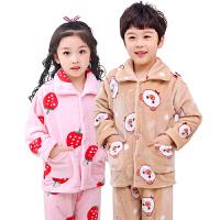 秋冬季儿童法兰绒睡衣加厚款珊瑚绒男童女童小孩大童宝宝家居套装
