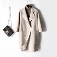 新年特惠双面呢大衣女中长款宽松韩版2019新款格子外套反季 米白色 米白格子