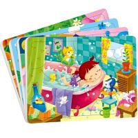 一套4张小红花3-4岁幼儿童 拼图20片/32片纸质拼图早教益智玩具