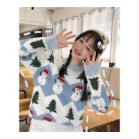 新年礼物秋冬女装韩版宽松加厚马海毛圣诞雪人套头毛衣针织衫上衣外套 均码
