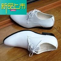 新品上市男士尖头皮鞋英伦韩版潮流真皮商务休闲青年内增高单鞋子春夏