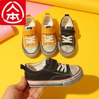 人本帆布鞋儿童布鞋幼儿园室内鞋男童秋季鞋女童透气板鞋2019新款