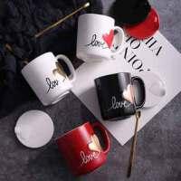 汉馨堂 情侣水杯 家用简约咖啡杯子创意潮流水杯一对可爱陶瓷马克杯带盖勺礼盒情人节礼物送女友男友闺蜜