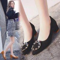 韩版浅口女鞋高跟鞋粗跟中跟5cm方扣浅口尖头百搭少女工作职场单