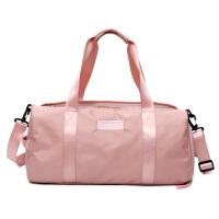 旅行包女手提短途大容量运动健身房包男干湿分离游泳包轻便行李包 粉色大号 能套拉杆 大