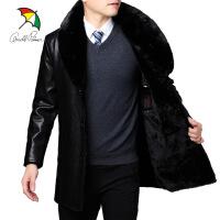 中年男士皮衣外套加绒加厚中长款皮夹克可拆卸大毛领爸爸装 黑色A000PML005