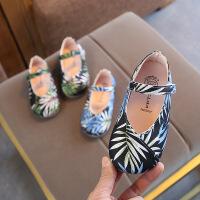 女童公主皮鞋女童植物印花图案软底单鞋平底鞋