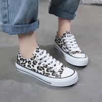 豹纹女鞋潮原宿韩版帆布鞋透气学生休闲鞋百搭板鞋春季新款运动鞋 白色 F330K