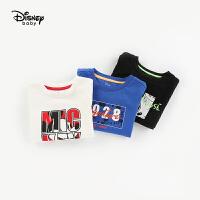 【2件3折后价:50.7元】迪士尼童装2020春款儿童打底衫纯棉男童洋气宝宝假两件长袖T恤专柜同款