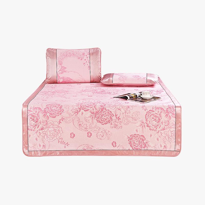 当当优品 可折叠凉席提花冰丝席两件套 防滑1.2米空调席 国色天香 120*195cm透气舒适抗菌