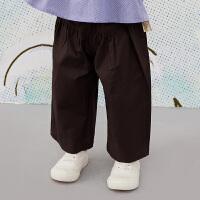 【6折价:161.4元】马拉丁童装女小童裤子春装2020新款休闲阔腿裤百搭棉布长裤
