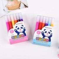 金万年0591熊猫软头可水洗三角杆12色24色水彩笔 学生彩色绘画笔